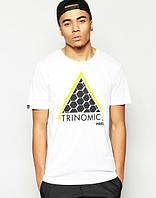 Брендовая футболка, белая, черное лого, летняя, мужская, КП879