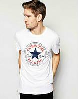 Брендовая футболка, белая, конверс, стильная, хб, КП881