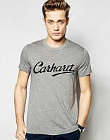 Брендовая футболка, серая, на груди лого, стильная, в наличии, мужская, КП903
