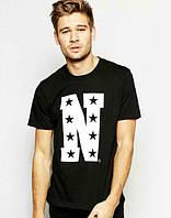 Брендовая футболка, черная, в наличии, хб, летняя, молодежная, КП908