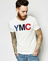 Брендовая футболка, белая, цветное лого, мужская, летняя, КП913