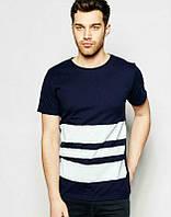 Брендовая футболка, синяя, белое лого, мужская, хб, КП967