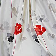 Портьерная ткань молочная с цветами 28
