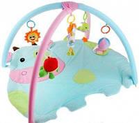 Мягкий коврик для новорожденных Коровка с погремушками