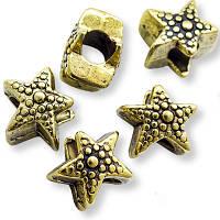 Бусины Пандора Шармы Металл, Звезда, Цвет: Античное Золото, Размер: 11.5х8.5мм, Отв. 4.5мм, (УТ00004989)