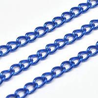 Цепь с Гальваникой, Витое Плетение, Железная,Цвет: Синий, Звено: 5х3мм, Толщина 1мм, (УТ0029460)