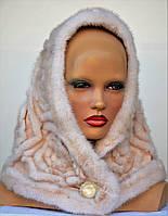 Женская шапка норковая Роза-нашивка(капюшон)