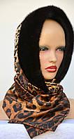 Меховой платок из норки Шарф с принтом, фото 1