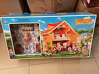 Игровой домик для кукол 012-03 Happy Family аналог Sylvanian Families Сильваниан с мебелью