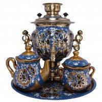 Самовар Электрический 3л Кудрина синяя с чайным набором