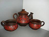 Глиняный чайный сервиз (разрисованный),5 предметов