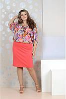 Р48,50,52,54,56,58, 60,62,64,66,68,70,72,74 Коралловое женское платье 770129 батал с цветами больших размеров