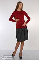 Юбка для беременных Teilor теплая серый с тонкой полоской