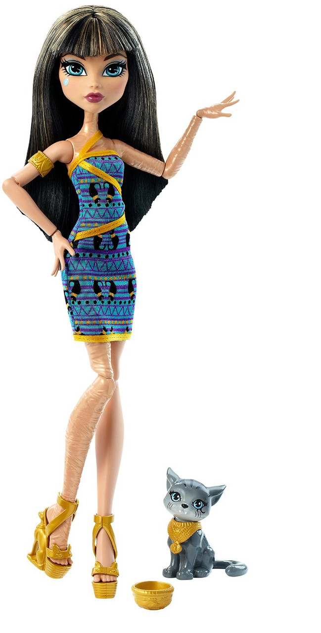 Monster High Клео де Нил с котенком Ghoul's Beast Pet Cleo De Nile Doll