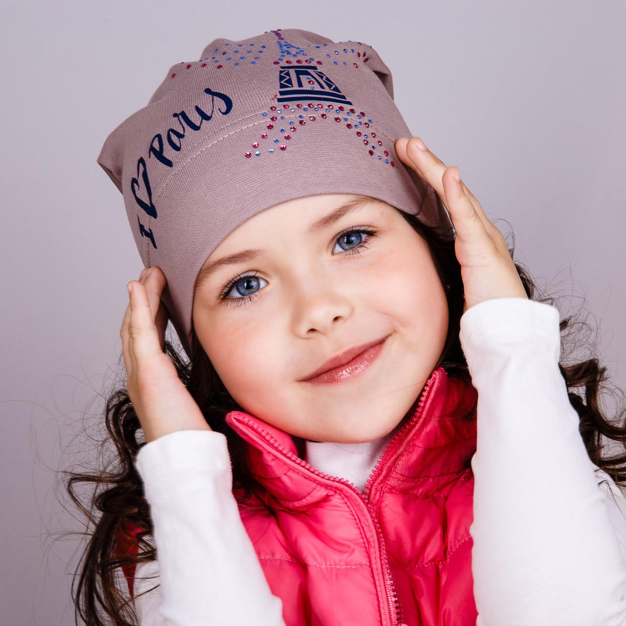 Модная шапка для девочек - I love Paris - весна-осень  - Артикул 1751