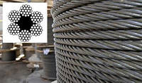 Трос стальной ГОСТ 2688-80 канат двойной свивки тип ЛК-Р конструкции 6 х 19 (1+6+6/6) + 1 о.с. 3,6 мм, фото 1