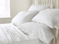 Однотонное двуспальное постельное белье ( комплект из белого хлопка)