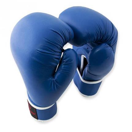 Перчатки боксерские Europaw кожа синие 10 oz, фото 2