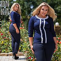 Элегантные женские зауженные т.синие брюки классика