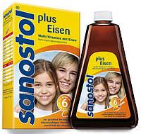Витаминный сироп для взрослых и детей от 6 лет Sanostol® Plus Multi-Vitamin mit Eisen, 460 ml.