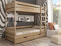 Кровать двухъярусная из натурального дерева для детей и взрослых «Дуэт»