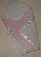 """Конверт-плед-одеяло на выписку новорожденного """"Розовая полоска"""" №2"""