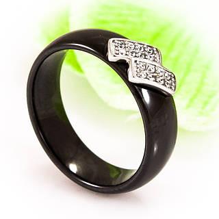 Керамическое кольцо с родированной вставкой