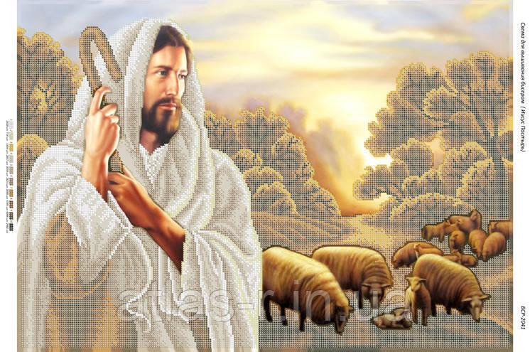 """А2 """"Иисус Пастырь"""" схема для вышивки бисером иконы"""