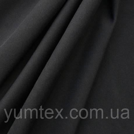 Однотонная хлопковая ткань канзас, 75 % хлопок, цвет черный