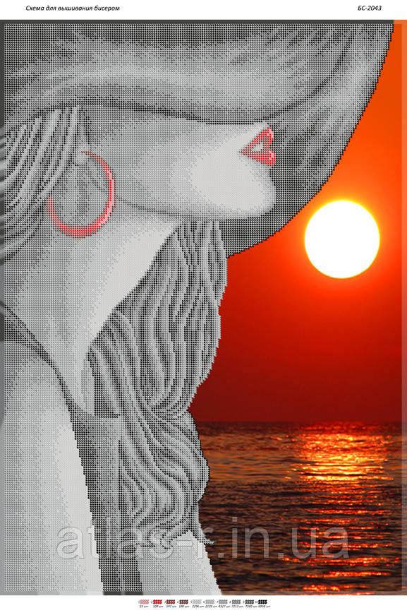 """Схема для частичной вышивки бисером """"Девушка в шляпе на красном закате"""""""