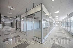 Офисные ПЕРЕГОРОДКИ с одинарным стеклом Alutech