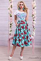 Легкая контрастная юбка 42-48 размеры 1339