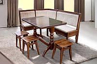Набор кухонной мебели Семейный мягкий угол, стол и три табурета