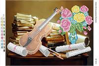 """Схема для частичной вышивки бисером """"Натюрморт со скрипкой"""""""