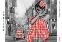 """Схема для частичной вышивки бисером """"Девушка в красном ч/б"""""""