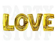 Фольгированные шары буквы Love, золото, 80 см