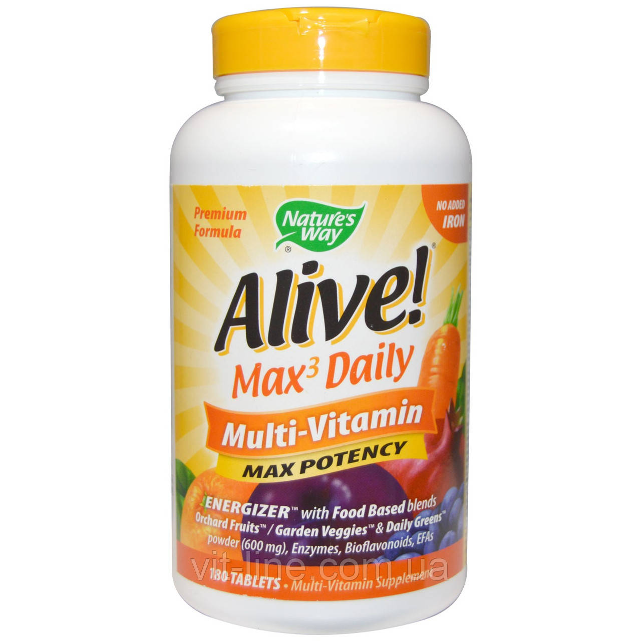 Nature's Way, Alive! Ежедневно Max3, мультивитамины, 180 таблеток