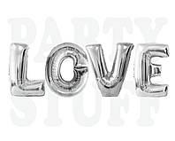 Фольгированные шарики буквы Love, серебро, 80 см