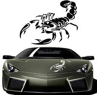 Виниловая наклейка для машины 3D скорпион 30 см. Наклейка на авто, черный