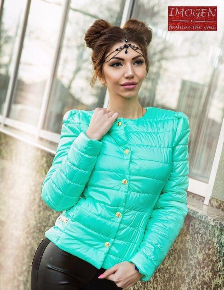66da0fc7d12b Легкая женская куртка с круглым воротником на кнопках, цвет бирюзовый -  Модный гардероб в Харькове