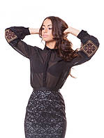 Блузка с вышивкой на рукавах (в размере L - 3XL), фото 1