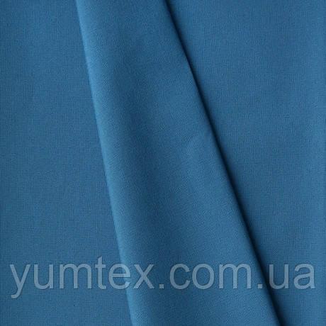 Однотонная хлопковая ткань канзас, 75 % хлопок, цвет сине-голубой