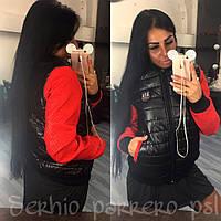 Легкая женская куртка на замочке, с стегаными рукавами. Цвет черный