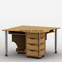 Эргономичный стол на два рабочих места,Тиса-04, ольха темная