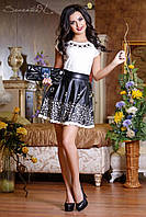 Черная юбка с перфорированным низом 42-46 размеры 0711