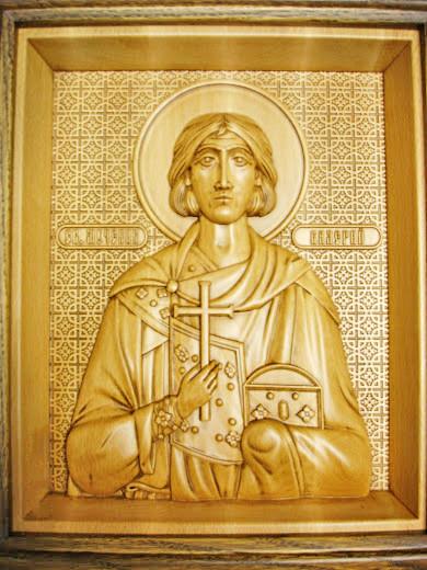 икона резная деревянная святого мученика валерия севастийского
