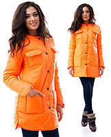 Куртка женская теплая с карманами - Оранжевый  (оптом)