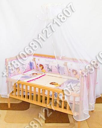 Детское постельное белье и защита (бортик) в детскую кроватку (Мадагаскар розовый), фото 2