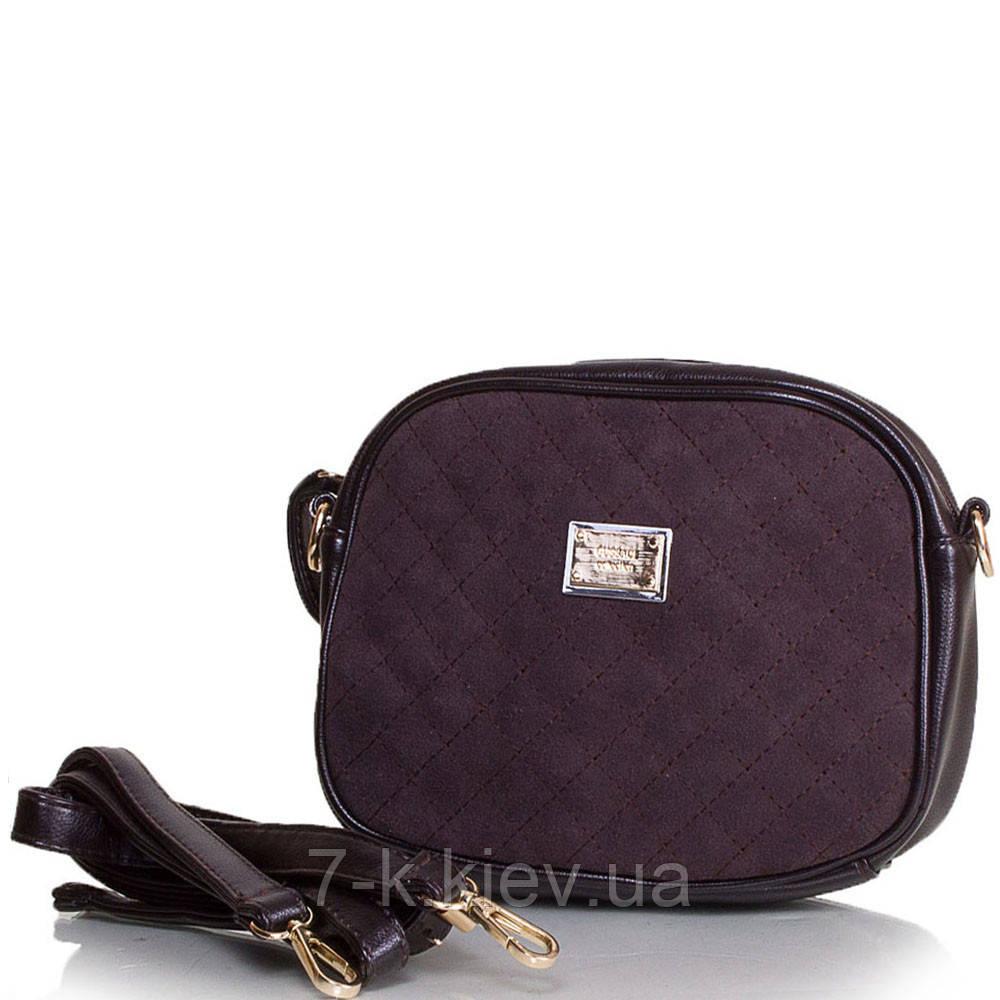 f1a434e9decf Женская сумка-клатч из качественного кожезаменителя и натуральной замши  GUSSACI (ГУССАЧИ) TU14374-brown