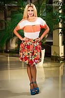 Летняя юбка с цветочным принтом 42-46 размеры 0702